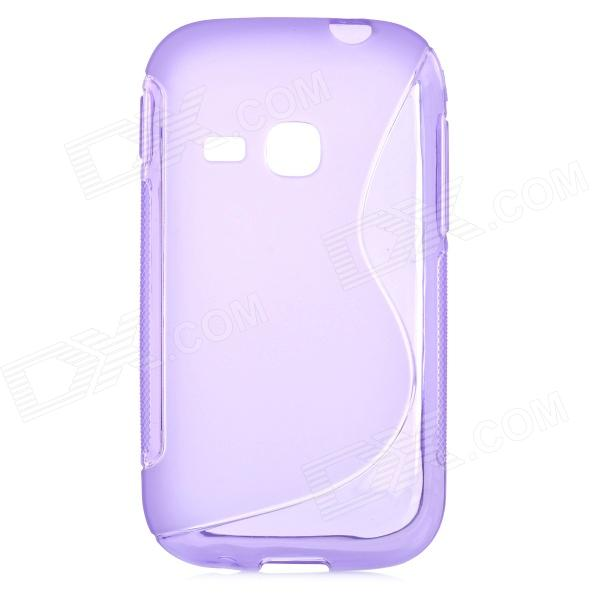 S Style Protective TPU Back Case for Samsung Galaxy Young S6310 - Purple small holes style protective pe back case for htc one x s720e purple