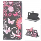 IKKI Butterflies over Flowers Pattern PU Leather Case Cover Stand w/ Card Slots for LG Nexus 5