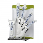 "Bestlead Zirconia Ceramic 3"" + 5"" + 6"" Kitchen Knives Kit w/ Stand / Peeler / Chopping Board - White"