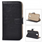 DYTI-007 Protective PU Leather Case Cover Stand for Samsung Galaxy S4 i9500 - Black