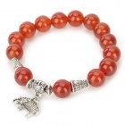 SHIYING BSa0038-0023 Woman's Stylish Red Agate Beads Elephant Pendant Bracelet - Red + Silver