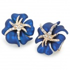 ER-5294 Stylish Shiny Crystal Inlaid Flower Style Earring - Blue + Golden (2 PCS)