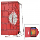 Alligator Pattern Protective PU Flip Open Case w/ Stand / Card Slot for Samsung Note 3 N9000 - Red