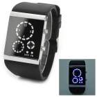 Stylish 3-dial Blue Back Light LED Digital Wristwatch - Black + Silver (2 x CR2016)