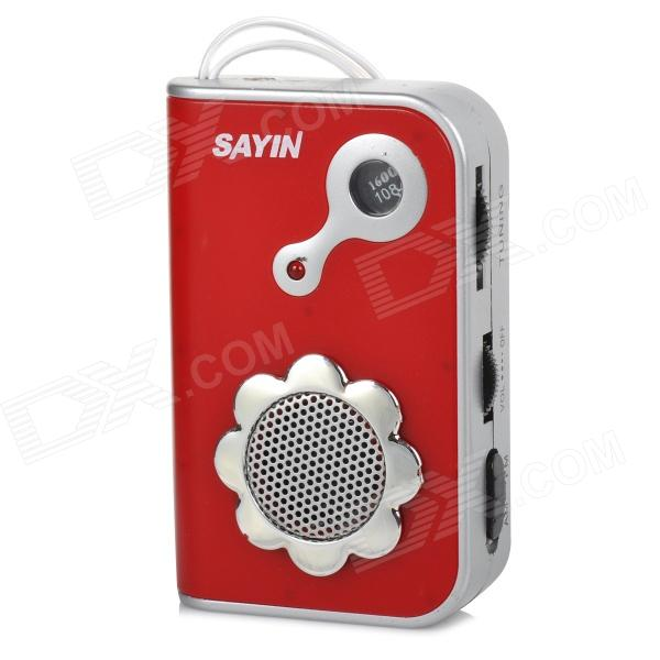 SAYIN SY-771 AM / FM Radio w/ Built-in Speaker - Red + Silver (2 x AAA) creative auto stirring mug silver red 2 x aaa 350ml