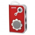 SAYIN SY-771 AM / FM Radio w/ Built-in Speaker - Red + Silver (2 x AAA)