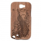 Peacock Spread His Tail Pattern Protective Bamboo Back Case for Samsung Galaxy Note 2 N7100 - Wood