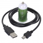 High Quality Car Cigarette Lighter Charger + USB Charging/Data Cable for Samsung - Green (100cm)