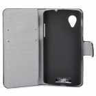 IKKI Protective PU Leather Case Cover Stand w/ Card Slots for LG Nexus 5 - Black