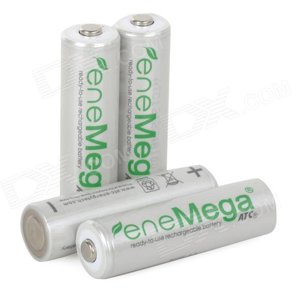 EneMega Rechargeable 1.2V 2100mAh AA Ni-MH Batteries - White + Green (4 PCS)