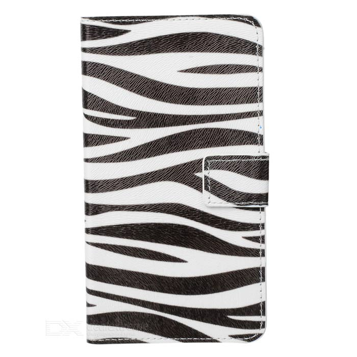 Zebra Stripe Protective PU Leather Case Cover for Samsung Galaxy Note 3 N9000 - White + Black  protective pu leather case for samsung galaxy note 3 n9006 n9000 n9002 white black