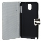 Zebra Stripe Protective PU Leather Case Cover for Samsung Galaxy Note 3 N9000 - White + Black