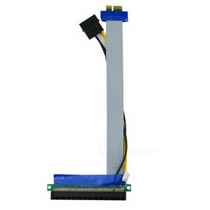 PCI-E 1X to 16X Adapter Riser Card Flex Extension Cable w/ Molex Power Connector pci e 16x экспресс 90 градусов адаптер riser card для 2u серверные корпуса компьютера