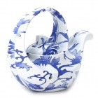 Retro Blue and White Porcelain Zinc Alloy Teapot Style Windproof Butane Gas Lighter - White + Blue