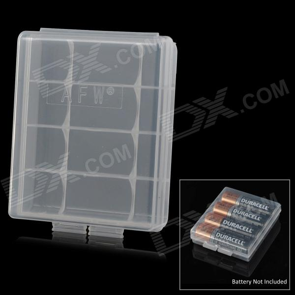 4 x AA / 5 x AAA Batteries Storage Box - Translucent White 1pcs lot battery holder box case 3x aa 4 5v with switch