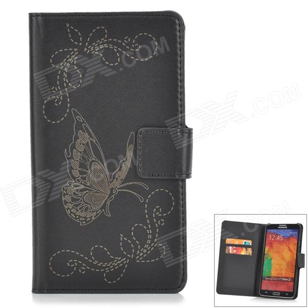 Butterfly Style Protective PU Leather Case for Samsung Galaxy Note 3 N9006 / N9005 / N900 - Black  protective pu leather case for samsung galaxy note 3 n9006 n9000 n9002 white black