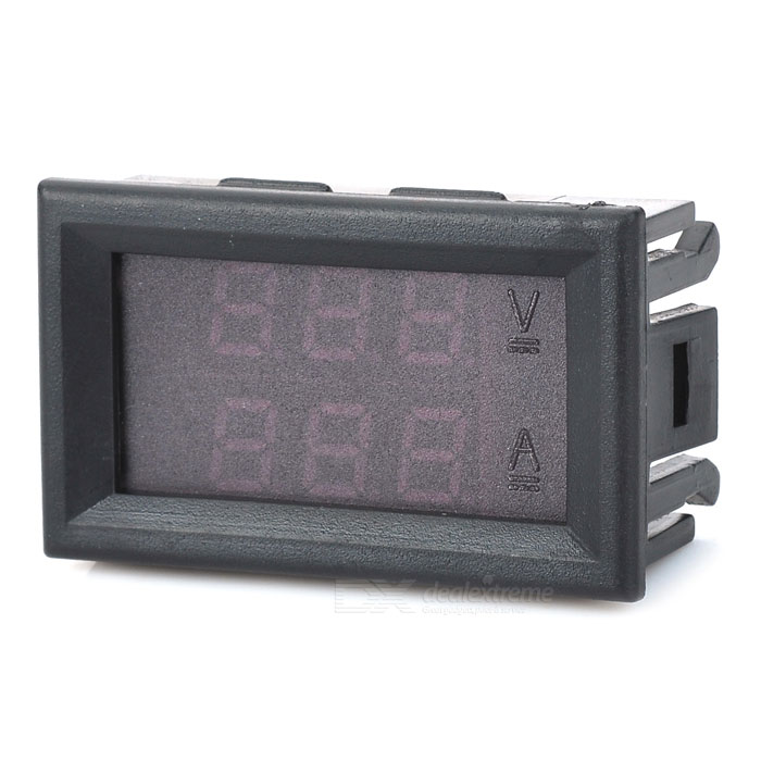 121502 3-Digit DC LED Double-Display Voltage Current Meter - Black