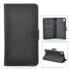 Protective PU Leather Case w/ Card Holder Slots for Sony Xperia Z1 L39h - Black
