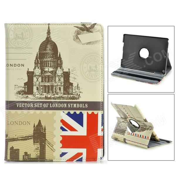 360 Degree Rotatable Retro London Style PU Leather Case for IPAD AIR - Beige + Black + Multi-Colored angibabe 360 degree rotatable bluetooth keyboard leather case for ipad air black
