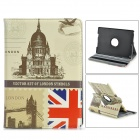 360 Degree Rotatable Retro London Style PU Leather Case for IPAD AIR - Beige + Black + Multi-Colored