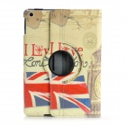360 Degree Rotatable Retro London Style PU Leather Case for IPAD AIR - Red + Blue + Multi-Colored
