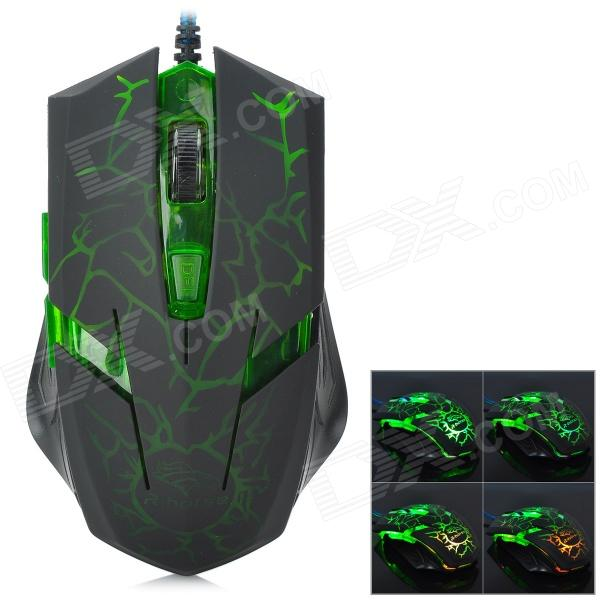 RH2500 USB 2.0 Wired 3200 / 2400 / 1600 / 800dpi LED Gaming Mouse - Black + Green