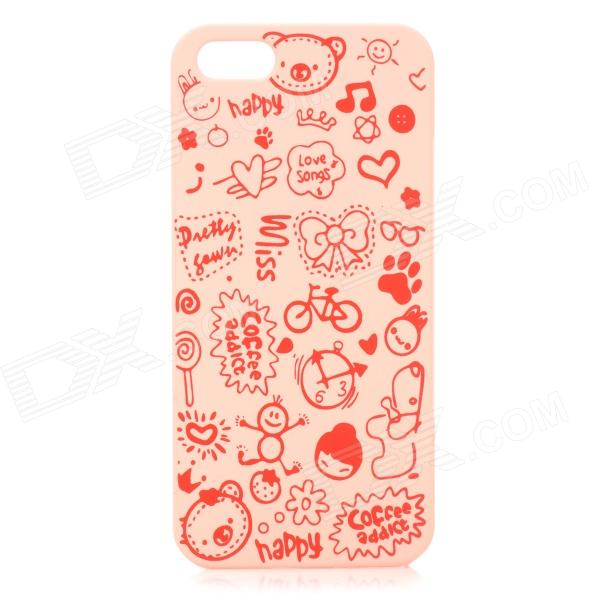 Cute Cartoon Style Protective Plastic Back Case for IPHONE 5 / 5S - Pink cartoon pattern matte protective abs back case for iphone 4 4s deep pink