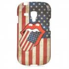 American Flag Pattern Protective TPU Back Case for Samsung Galaxy S3 Mini i8190 - White + Red + Blue