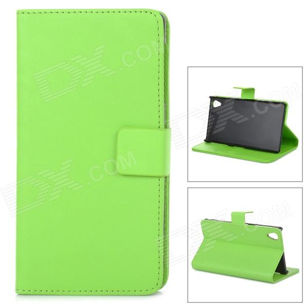 Protective PU Leather Case Cover Stand w/ Card Slot for Sony Xperia Z1 L39h - Green one piece 1x brand new high quality silicon protective skin case cover for xbox 360 remote controller blue green mix color