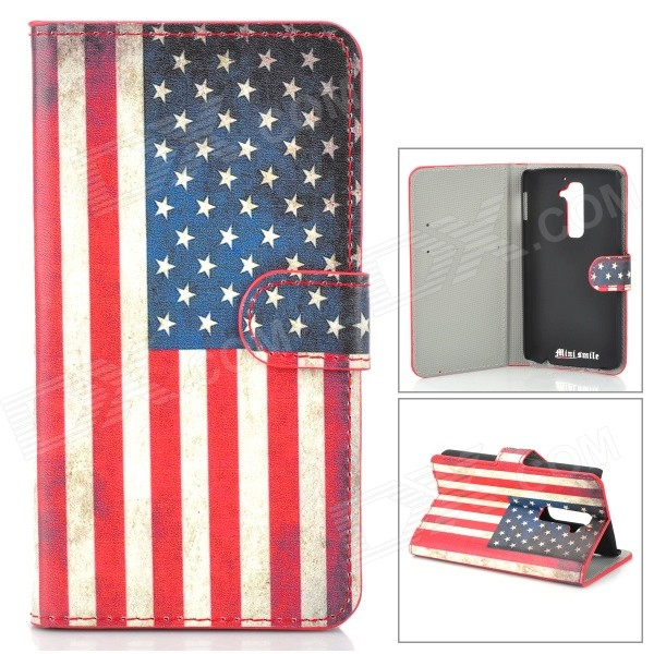 IKKI US National Flag Style Protective PU Leather Case for LG Optimus G2 D802 - Beige + Red + Blue protective flip open pu leather case for lg optimus g2 d802 f320 black