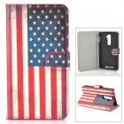 IKKI US National Flag Style Protective PU Leather Case for LG Optimus G2 D802 - Beige + Red + Blue