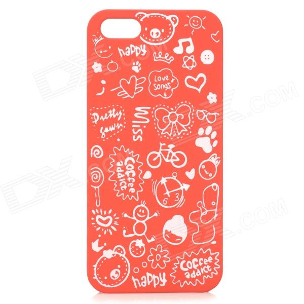 Cute Cartoon Style Protective Plastic Back Case for IPHONE 5 / 5S - Red + White cute marshmallow style silicone back case for iphone 5 5s yellow white