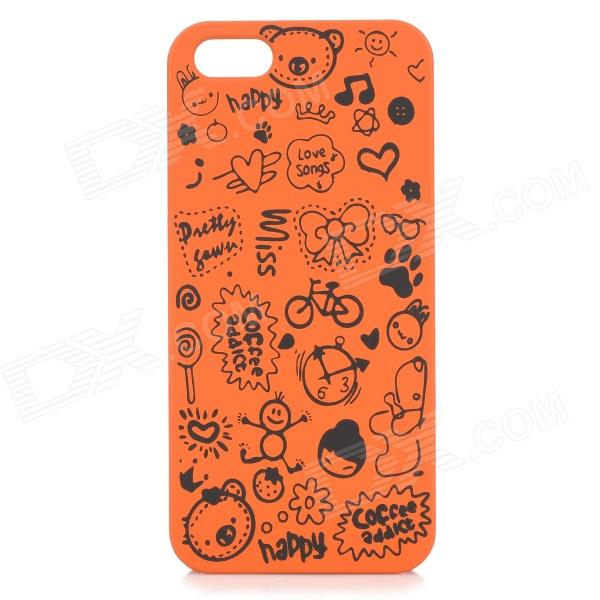 Cute Cartoon Style Protective Plastic Back Case for IPHONE 5 / 5S - Orange + Black for iphone 7 4 7 inch brushed plastic kickstand shell casing baby blue