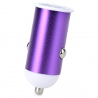 5V 1A Mini USB Car Charger w/ Micro USB Charging Cable for Samsung - Purple