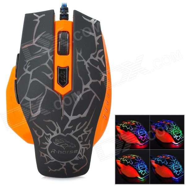 FC-5600 USB 2.0 Wired 3200 / 2400 / 1600 / 800dpi LED Gaming Mouse - Black + Orange + Multicolored fc 143 usb 2 0 wired 1600dpi led gaming mouse black cable 120cm