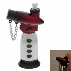 New Creative Blue Flame Windproof Butane Gas Jet Lighter w/ Safe Lock / Cover - Silver + Red