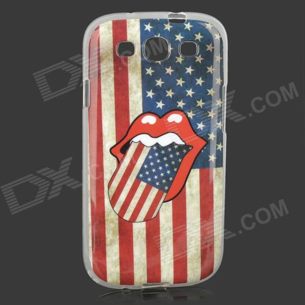 The Rolling Stones Logo US National Flag Style PU Leather Case for Samsung Galaxy S3 i9300 - Red