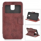 Protective PU Leather Case w/ Display Window for Samsung Galaxy Note 3 - Brown