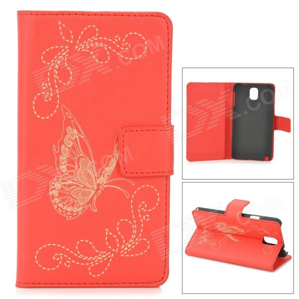 Butterfly Style Protective PU Leather Case w/ Card Holder Slots for Samsung Galaxy Note 3 - Red oracle style protective pu leather case w card holder slots for samsung galaxy note 3 white