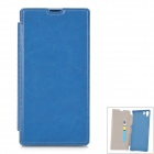 Protective PU Leather Case w/ Card Holder Slot for Sony L39h - Lake Blue