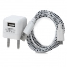 5V 1000mA EU Plug Power Adapter w/ Charging Cable for LG Nexus 5 + More - White + Black (100~240V)