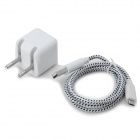 Plug Power Adapter 5V 1000mA UE w / cabo de carregamento para LG Nexus 5 + More - Branco + Preto (100 ~ 240V)