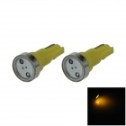T5 1W 80lm 1 x COB lâmpada LED Yellow Light Car Instrumento Lamp / Indicador - (DC 12V / 2 PCS)