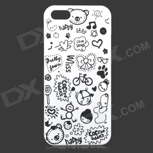 Cute Cartoon Style Protective Plastic Back Case for IPHONE 5 / 5S - White + Black cute marshmallow style silicone back case for iphone 5 5s yellow white