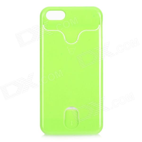 Protective Plastic Back Case w/ Card Holder for iPhone 5c - Green