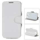 MUHE MH-i95001 PU Leather Case Cover Stand w/ Card Slot for Samsung Galaxy S4 i9500 - White