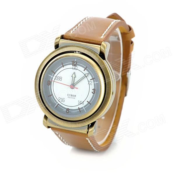 Casual Zinc Alloy Casing Quartz PU Wristband Watch w/ Compass - Brown