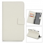 Protective PU Leather Case w/ Card Slot for Sony Xperia Z1 / L39h - White