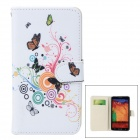Butterfly + Flower Pattern Protective PU Leather Case Cover for Samsung Galaxy Note 3 N9000 - White