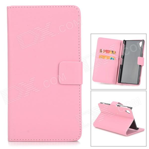 Protective PU Leather Case w/ Card Holder Slots for Sony Xperia Z1 L39h - Pink